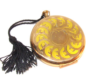 Vintage Goldtone & Enameled Pocketwatch Style Makeup Compact