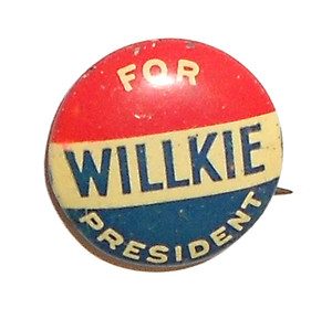 1940 Willkie for President - Political Campaign Pinback Button