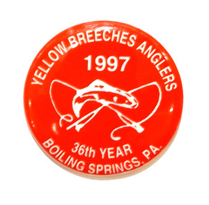 1997 Vintage Yellow Breeches Anglers Pinback Fishing Button - Boiling Springs, PA
