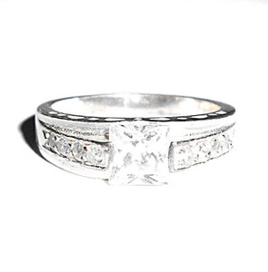 Contemporary Sterling Silver CZ Square Set Ring