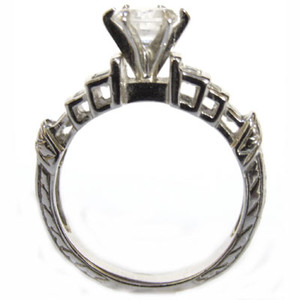 Stunning Step Ring Sterling Silver CZ Simulated Diamond