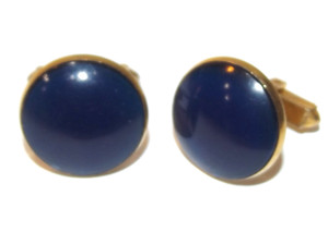 Vintage Anson Gold Plated Cufflinks with Dark Blue Cabochon Tops