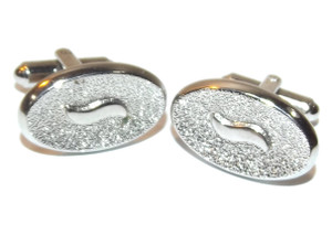 Vintage Chrome Oval Shaped Hickok Cufflinks with Textured Tops