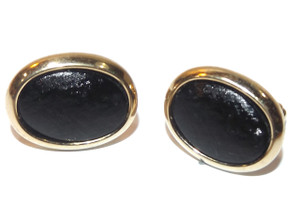 Vintage Gold Plated Hickok Cufflinks Oval w/ Textured Black Tops