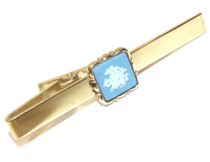 Vintage Gold Plated Stratton Tie Bar Clasp with Wedgewod Jasperware Tile Decoration