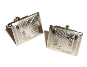 Vintage Silver Tone Rectangular Cufflinks with Pinstripes & Floral Engraving