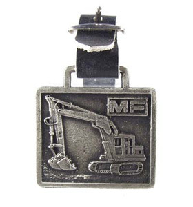 Vintge Massey Ferguson MF Antiqued Pewter Excavator Pocket Watch Fob