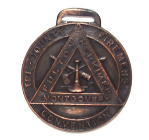 Antique New York Tri-County Firemen's Convention Pocket Watch Fob Bastian Bros.
