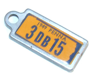 1949 DAV PA License Plate Keychain Fob - Pennsylvania Tag #3DB15