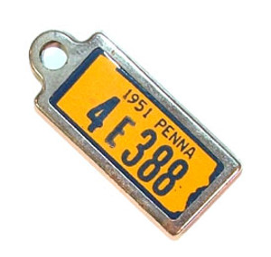 1951 Pennsylvania Miniature License Plate Key Fob PA Keychain