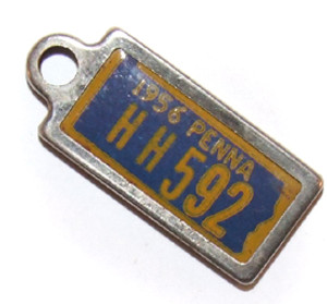 1956 DAV PA License Plate Keychain Fob - Pennsylvania