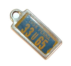 1956 Pennsylvania Miniature License Plate Key Fob PA Keychain