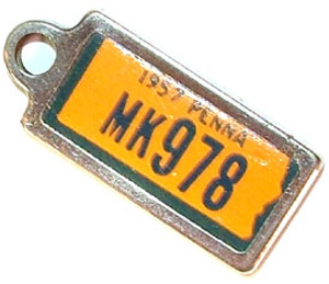 1957 Pennsylvania Miniature License Plate Key Fob PA Keychain
