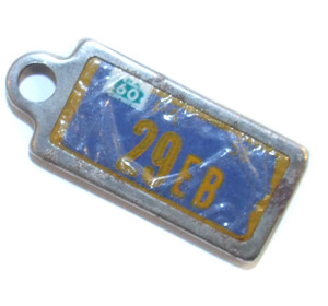 1960 DAV License Plate Key Fob - PA Tag #29EB