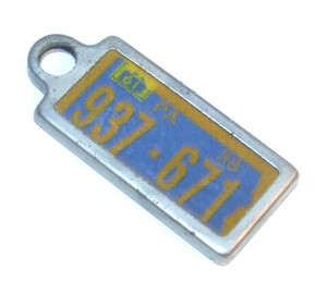 1961 DAV License Plate Key Fob - Pennsylvania Tag #937-671