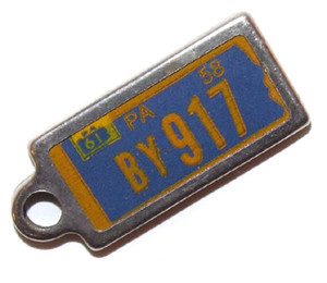 1961 Pennsylvania DAV Miniature License Plate Key Fob PA Keychain