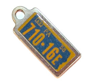 1963 Pennsylvania Miniature License Plate Key Fob PA Keychain