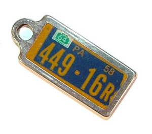 1964 Pennsylvania Miniature License Plate Key Fob PA Keychain