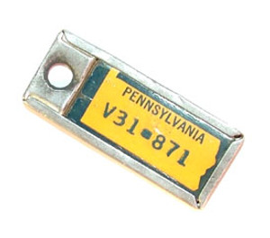 1965 Pennsylvania Miniature License Plate Key Fob PA Keychain