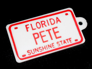 Florida Sunshine State PETE Personalized License Plate Keychain Fob