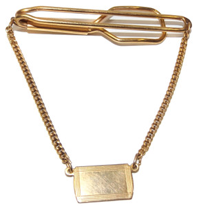 Vintage Campus 12k Gold Filled Tie Bar Clip Clasp with Dangling Placard