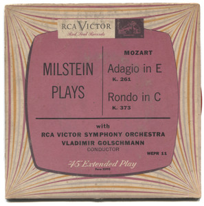 """Nathan Milstein Plays Mozart Adagio in E / Rondo in C - 7"""" EP 45 rpm Record"""