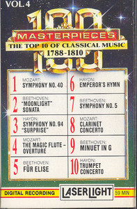 100 Masterpieces, #4 - The Top 10 of Classical Music 1788-1810 Cassette Tape