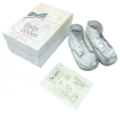 55007925a765b Vintage Sears Brand White Leather Baby Shoes Booties in Original Box