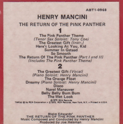 Henry Mancini: The Return of the Pink Panther - Original Motion Picture  Soundtrack Quad 8 Track Tape