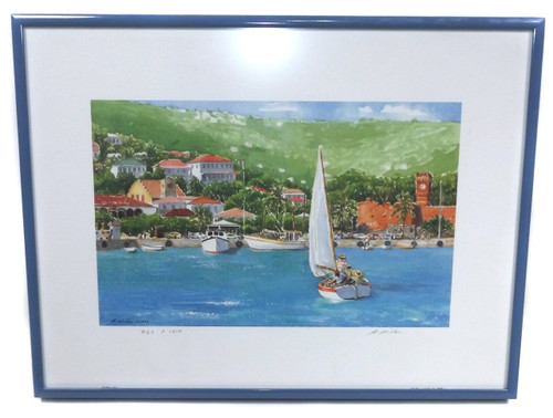 """Vintage 1993 A. Miller """"Sailing In"""" Limited Edition Signed Print Sailboats on Beach Framed"""