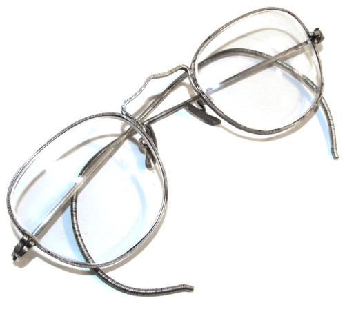 Pair of Vintage Eyeglasses with Stamped Design Silver Plated Frames