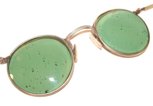Old Green Lens Round Steampunk Safety Glasses Folding