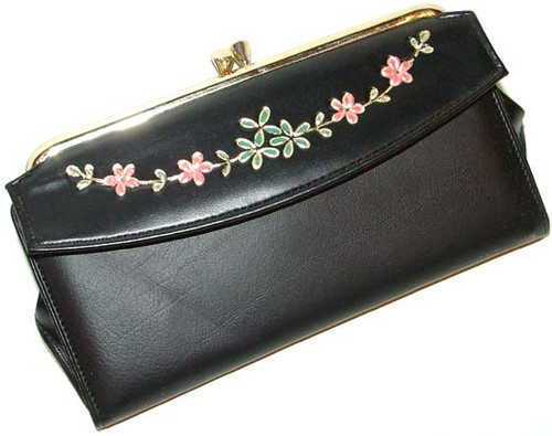 Retro Ladies'  Black Vinyl Wallet Pocketbook With Checkbook Holder
