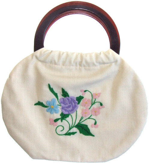 Vintage Hand Embroidered Floral Print Cloth Purse