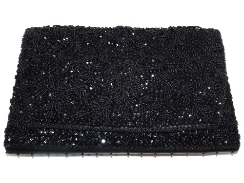 Vintage La Regale Ltd. Black Beaded Handbag Purse Clutch