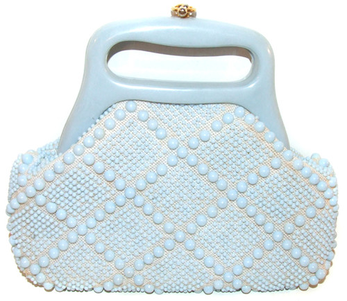 Vintage Pale Blue Plastic Bead Cabochon Clutch Purse