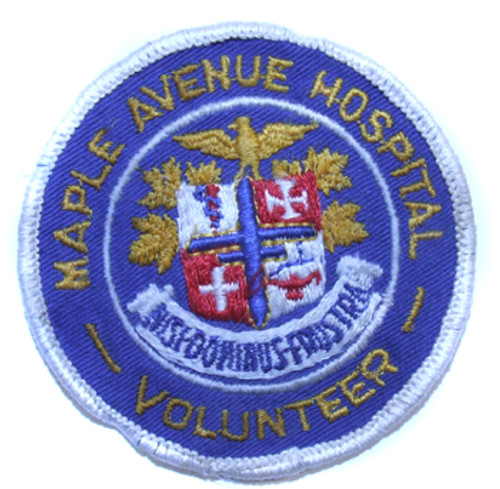 Vintage Maple Aveue Hospital Volunteer Embroidered Patch - Former DRMC DuBois, PA