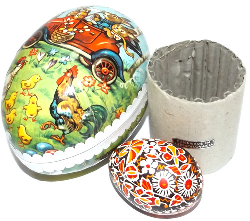 Vintage Two Piece Paper Mache Easter Egg Gift Box w/ Czech Pysanky Egg Inside