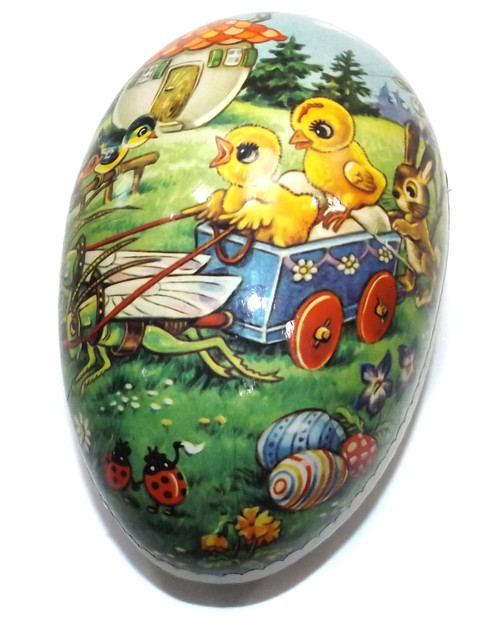 Vintage Two Piece Paper Mache Easter Egg Gift Box w/ Whimsical Animal Graphics