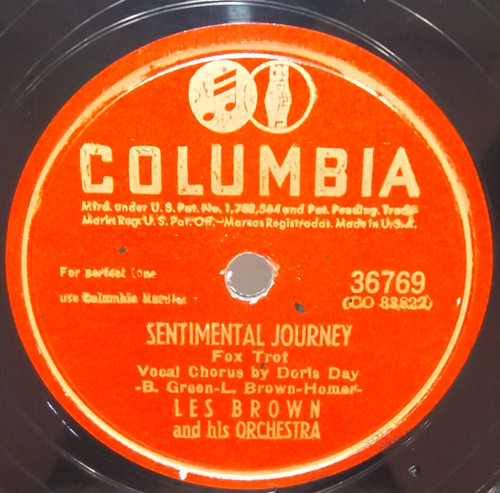 Les Brown & Orchestra: Sentimental Journey / Twilight Time - 78 rpm Record