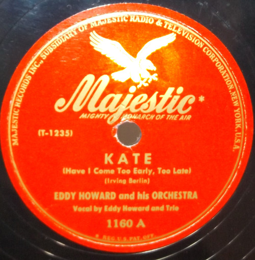 Eddy Howard & Orchestra: Kate / On the Avenue - 78 rpm Record