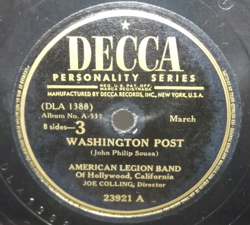American Legion Band: Washington Post / Hands Across the Sea - 78 rpm Record