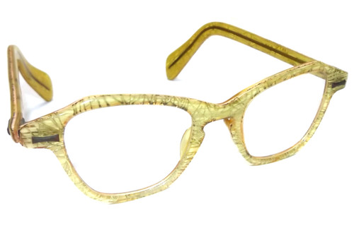Great Retro Mid-Century Semi-Transparent Cats Eye Glasses with Gold Filaments