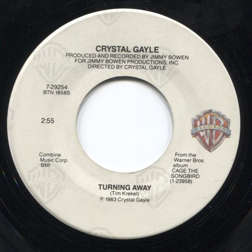 "Crystal Gayle: Turning Away / On Our Way to Love - 7"" Vinyl 45 rpm Record"