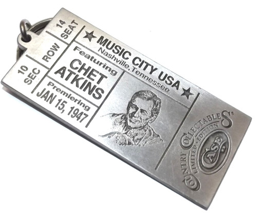 Vintage NOS Pewter Chet Atkins Concert Ticket Shaped Case XX Keychain