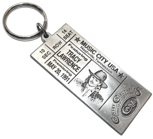 Vintage NOS Pewter Tracy Lawrence Concert Ticket Shaped Case XX Keychain