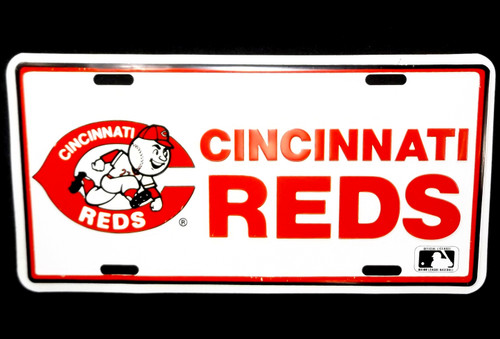 Vintage Cincinnati Reds Mr. Red Running Man Mascot Fan Vanity License Plate