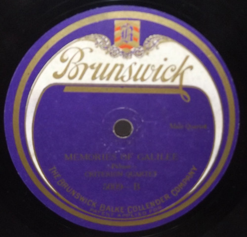 Criterion Quartet: Sweeter as the Years Go By / Memories of Galilee - 78 rpm Record