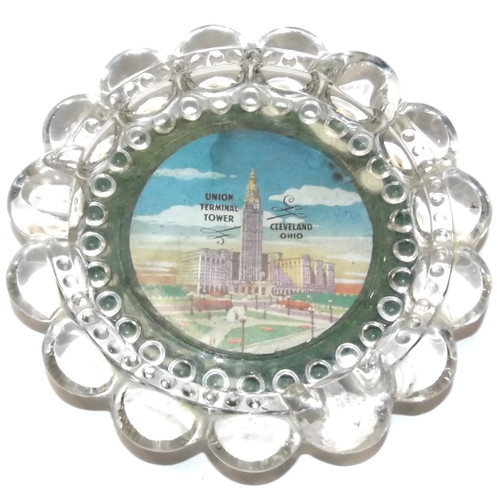 Vintage Union Terminal Tower Cleveland Ohio Glass Souvenir Ashtray
