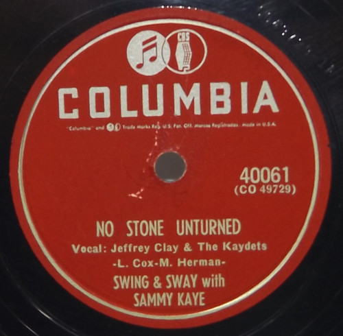 Swing and Sway with Sammy Kaye: In the Mission of St. Augustine / No Stone Unturned- 78 rpm Record
